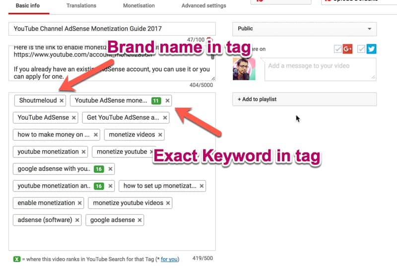 Using youtube tags