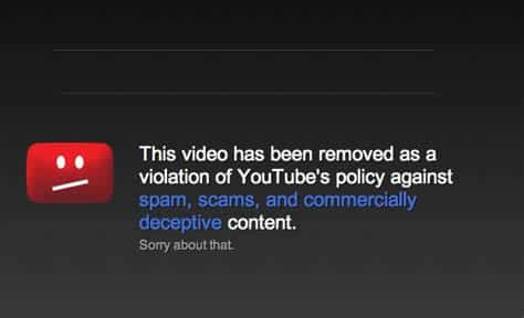 Violation of Youtube policy on video